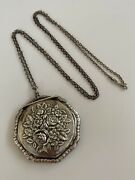 Vtg Mcm Art Deco 800 Silver Floral Etched Mirrored Compact Sterling 30andrdquo Necklace