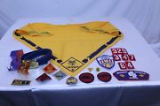 Vintage Collectible Cub Scout Lot Scarf, Bolo, Belt And Buckle, 15 Patches, Pin +