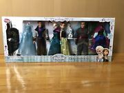 Disney Store Frozen Deluxe Doll Gift Set With Elsa, Anna, Hans, Kristoff And Olaf