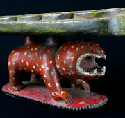 Art African - Authentic Game D' Awale Wooden Painted Baoulé Panther - 54 Cms