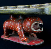 Art African - Authentic Game Dand039 Awale Wooden Painted Baoulandeacute Panther - 54 Cms
