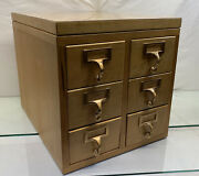 Vintage 18 Wooden Library Card Catalog 6 Drawers Mid Century