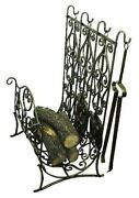 Faux Antique Brass Fireplace Log Holder With Tools