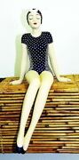 Shelf Sitting Bathing Beauty Figurine In Navy And White Suit