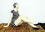 Bathing Beauty Figurine In Navy And White Stripe Suit With Knees Up