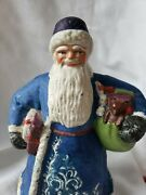 Antique Santa Claus Papermache Rare Early Collectible Blue With Bear And Toys
