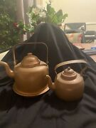 Lot Of Two 1 1/2 L Copper Tea Kettle And 0.65 Ml Copper Teapot Made In Finland