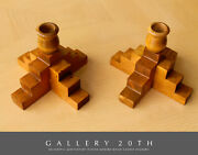 Superb Vtg Mid Century Danish Modern Abstract Wood Candle Holders 1960s 1950s