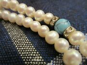Unusual And Pretty Vintage Pearl Turquoise Sterling And Crystal Necklace 18