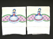 Pair Southern Belle Hand Embroidered Pillowcases Crochet Hems Vintage Bedding