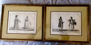 Set Of 2 Antique French Engravings, Early 19 Th Century, Gallery Framed, Sign