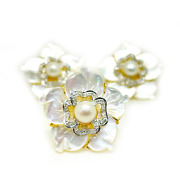 14k Yellow Gold Diamond Pearl And Mother Of Pearl Petals Ring And Earrings