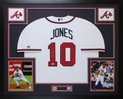 Chipper Jones Autographed And Framed White Braves Jersey Auto Beckett Coa D9-l
