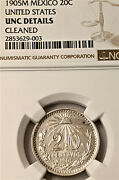 Mexico 1905 M 20 Centavos Coin Ngc Uncirculated Details