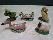 5 Vintage Porcelain Chinese Mud Duck Collectible Figurines Miniature