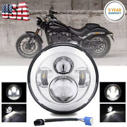 7inch Led Projector Chrome Hi/lo Headlight For Harley Street Glide Softail Flhx