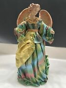 """Large Paper Mache Angel 14"""" Made In Philippines Tree Topper Christmas"""
