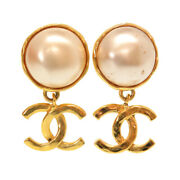 Authentic Vintage Cocomark Earrings Gold Faux Pearl 0052