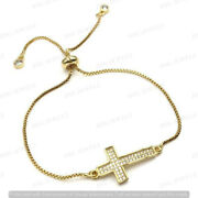 0.75 Ct Round D/vvs1 Diamond His And Her Cross Bolo Bracelets 14k Yellow Gold Over