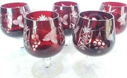 5 Ajka Marsala Bohemian Ruby Red Cut To Clear Crystal Brandy Glass Snifter