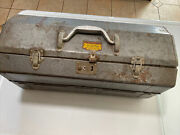 Vintage Grip-loc Gray Metal Tackle Tool Box Walton Products Union Made In Usa