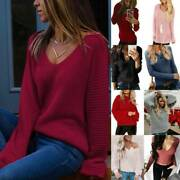 Ladies Solid Long Sleeve Knit Pullover Sweater Casual Knitwear Jumper Tops Hot
