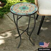 Outdoor Indoor Patio Garden Coffee Tea Round Table Elegant Ceramic Pattern 14and039and039