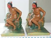 Antique 1920s Native American Indian Scout Cold Painted Figural Metal Bookends