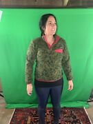 Synchilla Snap T Fleece Floral Green Pink Accents Patterned Womens Xs