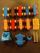 Lego Duplo Lot Of 68 Train / Car Bases Vintage Figures Decals Specialty Pieces