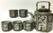 Japanese Stoneware Teapot With 5 Cups Hexagon Floral Bird Pattern