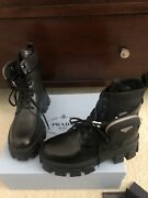 Sold Out Prada Monolith Black Low Combat Boots Booties W/pouches 39.5 Nib