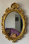 Ornate Harrison And Gil Dauphine Hand Carved Gilt Baroque Oval Mirror 37andrdquo X 25andrdquo