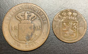 2 Coins Netherlands East Indies 1735 Duit 1856 2and1/2 Cents
