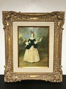 """Boras Antique Oil On Board Framed Painting Of Victorian Woman 15""""x11"""" Antique"""