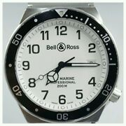 Bell And Ross Type Marine 410s Quartz Date Wristwatch Stainless Steel White Black