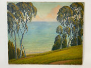 California Plein Air Cypress Trees And Ocean Landscape Painting Monterey