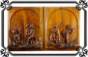 Vintage Pair Of French Cherub Hand Carved Walnut Wood Panels 19th