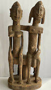 Antique Vtg African Tribal Dogon Mali Seated Figure Couple Statue Wood Sculpture