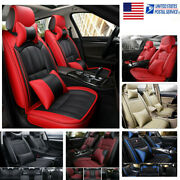 11pcs Leather Car Seat Cover Waterproof Protector Cushion Frontandrear Interior Us