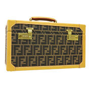 Fendi Zucca Pattern Makeup Cosmetic Hand Bag Box Brown Canvas Leather 40699
