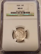 ✰ 1835 Capped Bust Dime 10c Coin Ngc Ms61 ✰ Est Survival 2500 Only 300 In Ms ✰