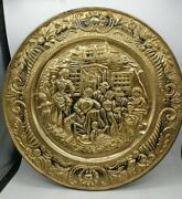 Vintage Brass Wall Hanging Platter Tavern Or Dining Scene 14.5 Unique Wall Deco