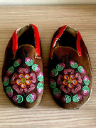Antique Native American Pair Of Beaded Moccasins, Large Size