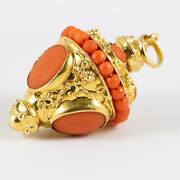 Vintage Etruscan Style 18k Yellow Gold Pre-owned Coral Pendant
