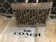 Coach Color Block Chain Link Rogue Tote Chalk