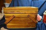 Vintage Metal Tin Brown And Yellow With Wood Look Picnic Basket