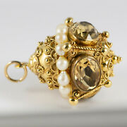 Vintage Etruscan Style 18k Yellow Gold Yellow Oval Citrine Pendant