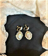 Signed Miriam Haskell Vintage Milk Glass And Floral Screw Back Dangle Earrings