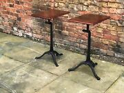 Edwardian Industrial Metal Machinist Tables With Wooden Tops